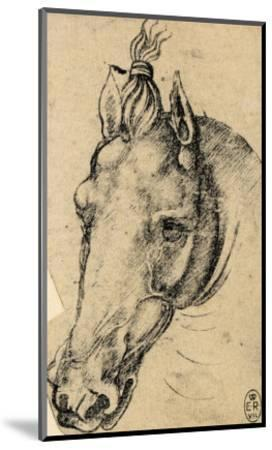 Study of the Head of a Horse, Pen Drawing on Paper Turned Yellow, Royal Library, Windsor-Leonardo da Vinci-Mounted Giclee Print