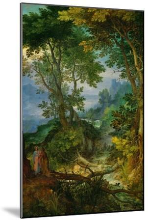 Mountain Landscape with the Temptation of Christ, 1605-1610-Jan Brueghel the Elder-Mounted Giclee Print