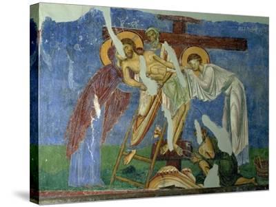Deposition and Lamentation, circa 1164, Byzantine Fresco--Stretched Canvas Print
