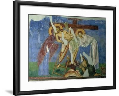 Deposition and Lamentation, circa 1164, Byzantine Fresco--Framed Giclee Print