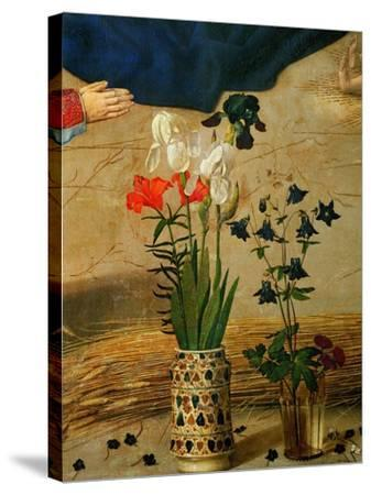 Vase with White, Red and Blue Lilies and Iris, Another with Seven Columbines-Hugo van der Goes-Stretched Canvas Print