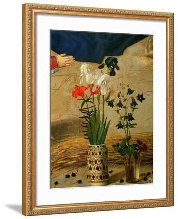 Vase with White, Red and Blue Lilies and Iris, Another with Seven Columbines-Hugo van der Goes-Framed Giclee Print