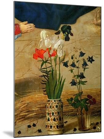 Vase with White, Red and Blue Lilies and Iris, Another with Seven Columbines-Hugo van der Goes-Mounted Giclee Print