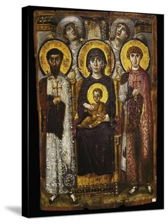 Virgin and Child with Two Saints, Byzantine Icon--Stretched Canvas Print