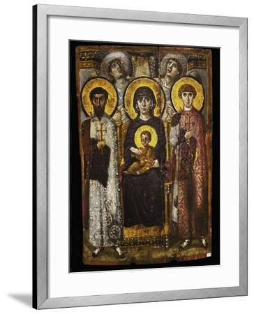 Virgin and Child with Two Saints, Byzantine Icon--Framed Giclee Print
