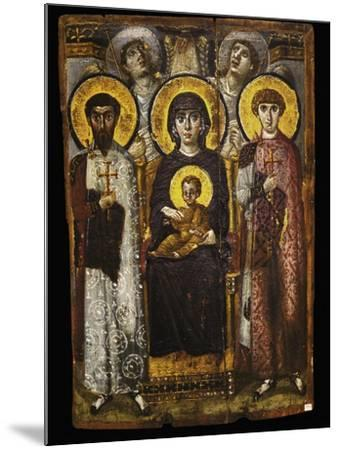 Virgin and Child with Two Saints, Byzantine Icon--Mounted Giclee Print