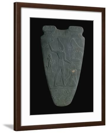 The Narmer Palette (Reverse), a Late Pre-Dynastic Schist Ceremonial Palette--Framed Giclee Print