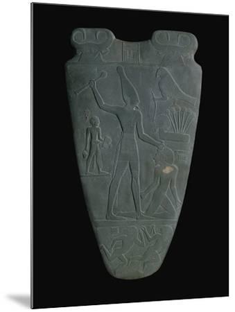 The Narmer Palette (Reverse), a Late Pre-Dynastic Schist Ceremonial Palette--Mounted Giclee Print