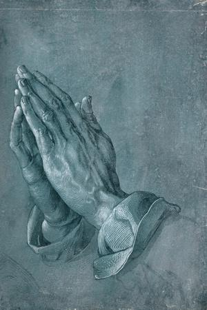 Praying Hands, 1508, Point of Brush and Black Ink, Heightened with White, on Blue Prepared Paper-Albrecht D?rer-Stretched Canvas Print