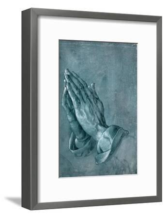 Praying Hands, 1508, Point of Brush and Black Ink, Heightened with White, on Blue Prepared Paper-Albrecht D?rer-Framed Giclee Print