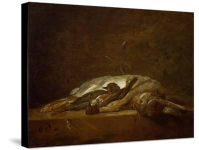 A Hare, Two Dead Thrushes, a Few Stalks of Straw on a Stone Table, Around 1750-Jean-Baptiste Simeon Chardin-Stretched Canvas Print