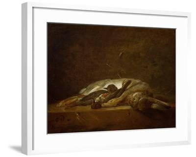 A Hare, Two Dead Thrushes, a Few Stalks of Straw on a Stone Table, Around 1750-Jean-Baptiste Simeon Chardin-Framed Giclee Print