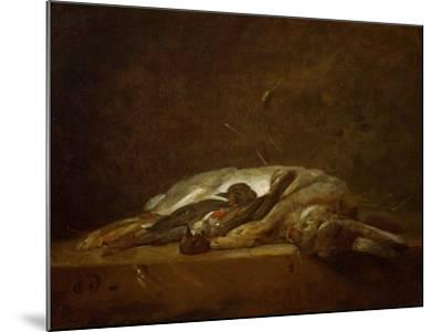 A Hare, Two Dead Thrushes, a Few Stalks of Straw on a Stone Table, Around 1750-Jean-Baptiste Simeon Chardin-Mounted Giclee Print