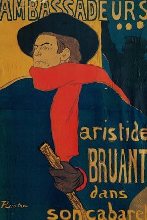 Aristide Bruant, Singer and Composer, at Les Ambassadeurs on the Champs Elysees, Paris, 1892-Henri de Toulouse-Lautrec-Stretched Canvas Print