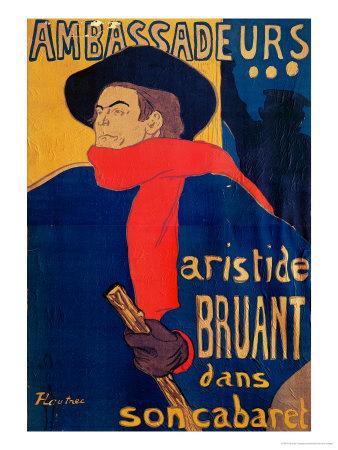 Aristide Bruant, Singer and Composer, at Les Ambassadeurs on the Champs Elysees, Paris, 1892-Henri de Toulouse-Lautrec-Giclee Print