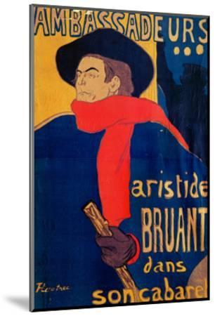 Aristide Bruant, Singer and Composer, at Les Ambassadeurs on the Champs Elysees, Paris, 1892-Henri de Toulouse-Lautrec-Mounted Giclee Print