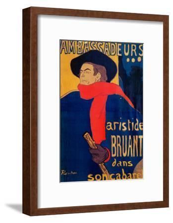 Aristide Bruant, Singer and Composer, at Les Ambassadeurs on the Champs Elysees, Paris, 1892-Henri de Toulouse-Lautrec-Framed Giclee Print