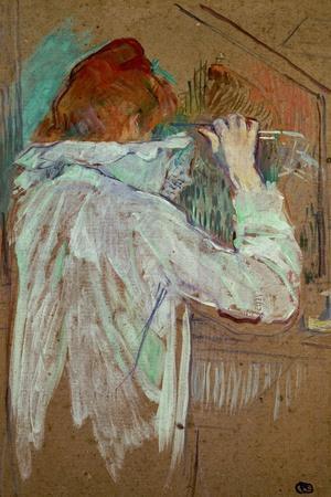Woman Curling Her Hair-Henri de Toulouse-Lautrec-Stretched Canvas Print