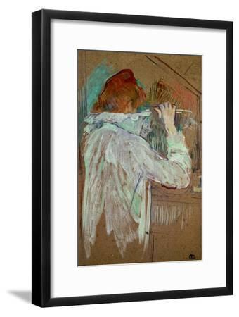 Woman Curling Her Hair-Henri de Toulouse-Lautrec-Framed Giclee Print
