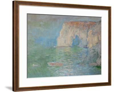 Etretat, the Cliff, Reflections on Water; 1885-Claude Monet-Framed Giclee Print