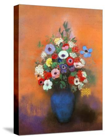 Anemones and Lilacs in a Blue Vase, after 1912-Odilon Redon-Stretched Canvas Print