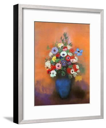 Anemones and Lilacs in a Blue Vase, after 1912-Odilon Redon-Framed Premium Giclee Print