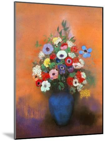 Anemones and Lilacs in a Blue Vase, after 1912-Odilon Redon-Mounted Premium Giclee Print