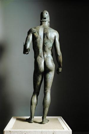 Riace Bronze (B), Bronze Statue of a Young Man with Helmet, More Than Life-Size, Found in 1972- Phidias-Stretched Canvas Print
