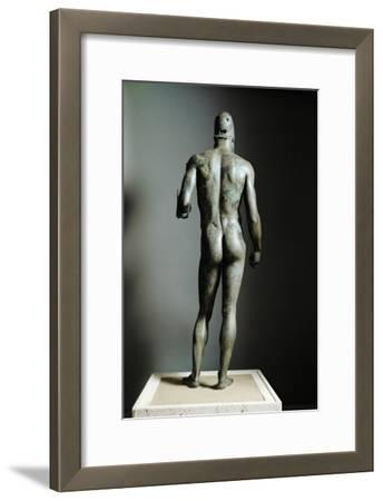 Riace Bronze (B), Bronze Statue of a Young Man with Helmet, More Than Life-Size, Found in 1972- Phidias-Framed Giclee Print