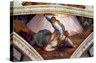 The Sistine Chapel; Ceiling Frescos after Restoration: David and Goliath-Michelangelo Buonarroti-Stretched Canvas Print