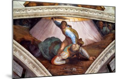 The Sistine Chapel; Ceiling Frescos after Restoration: David and Goliath-Michelangelo Buonarroti-Mounted Giclee Print