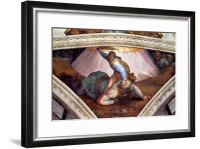 The Sistine Chapel; Ceiling Frescos after Restoration: David and Goliath-Michelangelo Buonarroti-Framed Giclee Print