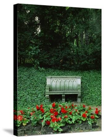 Neo-Gothic Bench in the Park of Babelsberg Palace, Potsdam-Karl Friedrich Schinkel-Stretched Canvas Print