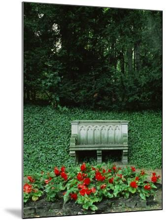 Neo-Gothic Bench in the Park of Babelsberg Palace, Potsdam-Karl Friedrich Schinkel-Mounted Giclee Print
