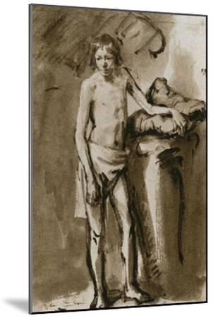 Male Nude, Upright, Around 1646-Rembrandt van Rijn-Mounted Giclee Print