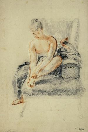 Young Woman, Nude, Holding One Foot in Her Hands, Red and Black Chalk-Jean Antoine Watteau-Stretched Canvas Print