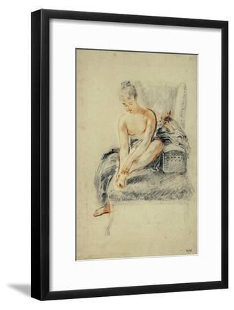 Young Woman, Nude, Holding One Foot in Her Hands, Red and Black Chalk-Jean Antoine Watteau-Framed Giclee Print