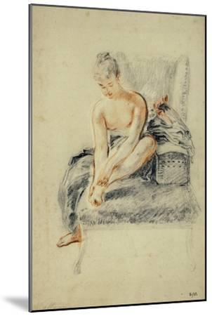 Young Woman, Nude, Holding One Foot in Her Hands, Red and Black Chalk-Jean Antoine Watteau-Mounted Giclee Print