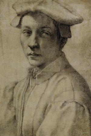 Portrait of Andrea Quaratesi, Around 1532, Black Chalk on Paper-Michelangelo Buonarroti-Stretched Canvas Print