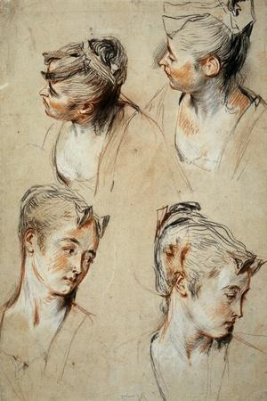 'Four Studies of a Young Woman's Head', 1716-1717-Jean Antoine Watteau-Stretched Canvas Print