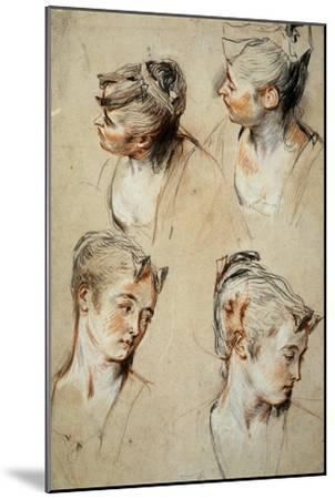 'Four Studies of a Young Woman's Head', 1716-1717-Jean Antoine Watteau-Mounted Giclee Print