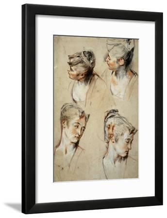 'Four Studies of a Young Woman's Head', 1716-1717-Jean Antoine Watteau-Framed Giclee Print