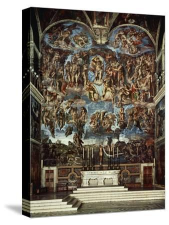 Sistine Chapel with the Retable of the Last Judgement (Fall of the Damned)-Michelangelo Buonarroti-Stretched Canvas Print