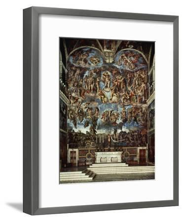 Sistine Chapel with the Retable of the Last Judgement (Fall of the Damned)-Michelangelo Buonarroti-Framed Giclee Print