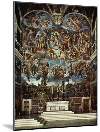 Sistine Chapel with the Retable of the Last Judgement (Fall of the Damned)-Michelangelo Buonarroti-Mounted Giclee Print