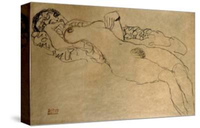 Female Nude Turned Left, 1914/15-Gustav Klimt-Stretched Canvas Print