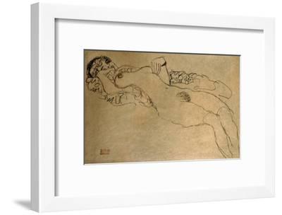 Female Nude Turned Left, 1914/15-Gustav Klimt-Framed Giclee Print
