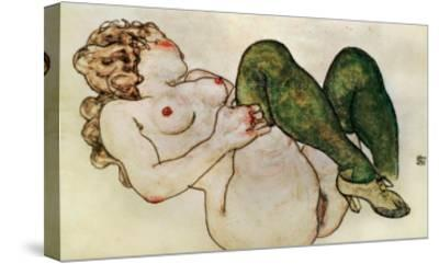 Nude with Green Stockings, 1918-Egon Schiele-Stretched Canvas Print