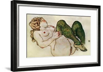 Nude with Green Stockings, 1918-Egon Schiele-Framed Giclee Print