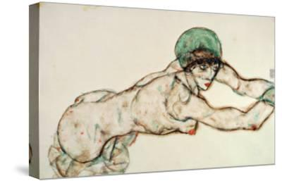 Reclining Female Nude with Green Cap, Leaning to the Right, 1914-Egon Schiele-Stretched Canvas Print